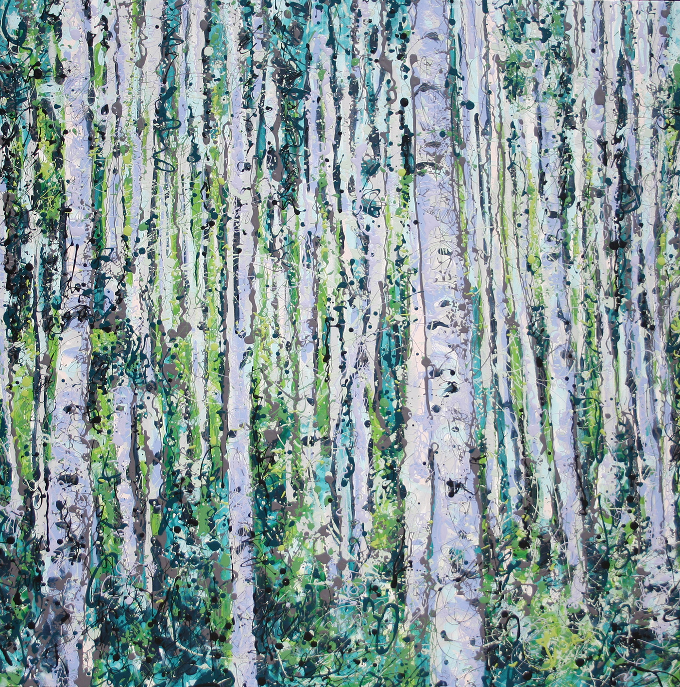 Representational imagery of aspen grove found in southern Colorado. Latex Enamel Painting on Gallery Wrapped Canvas by Fort Collins, Colorado Artist  Lisa Cameron Russell