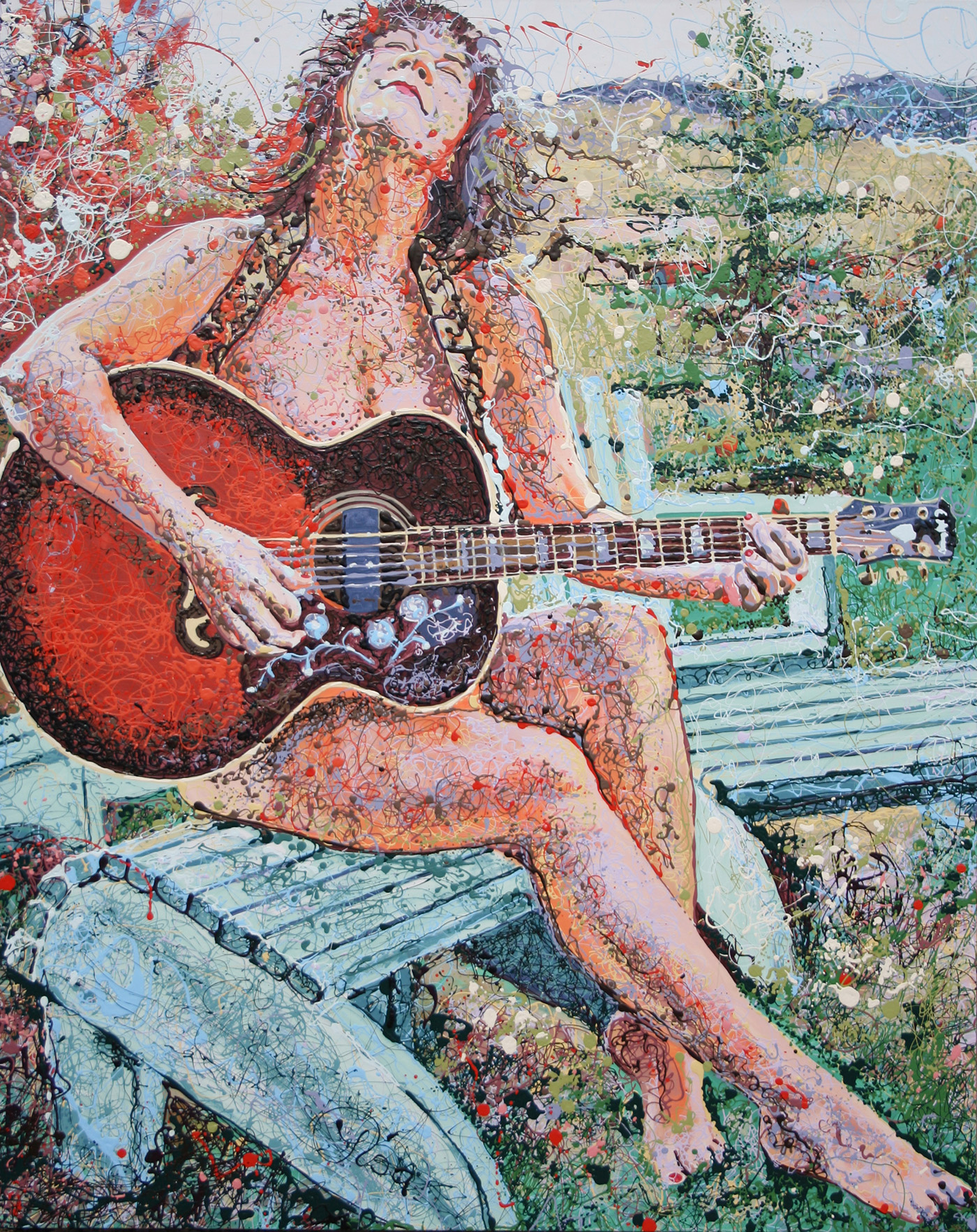 Music Imagery Latex Enamel Painting on Gallery Wrapped Canvas by Fort Collins, Colorado Artist Lisa Cameron Russell