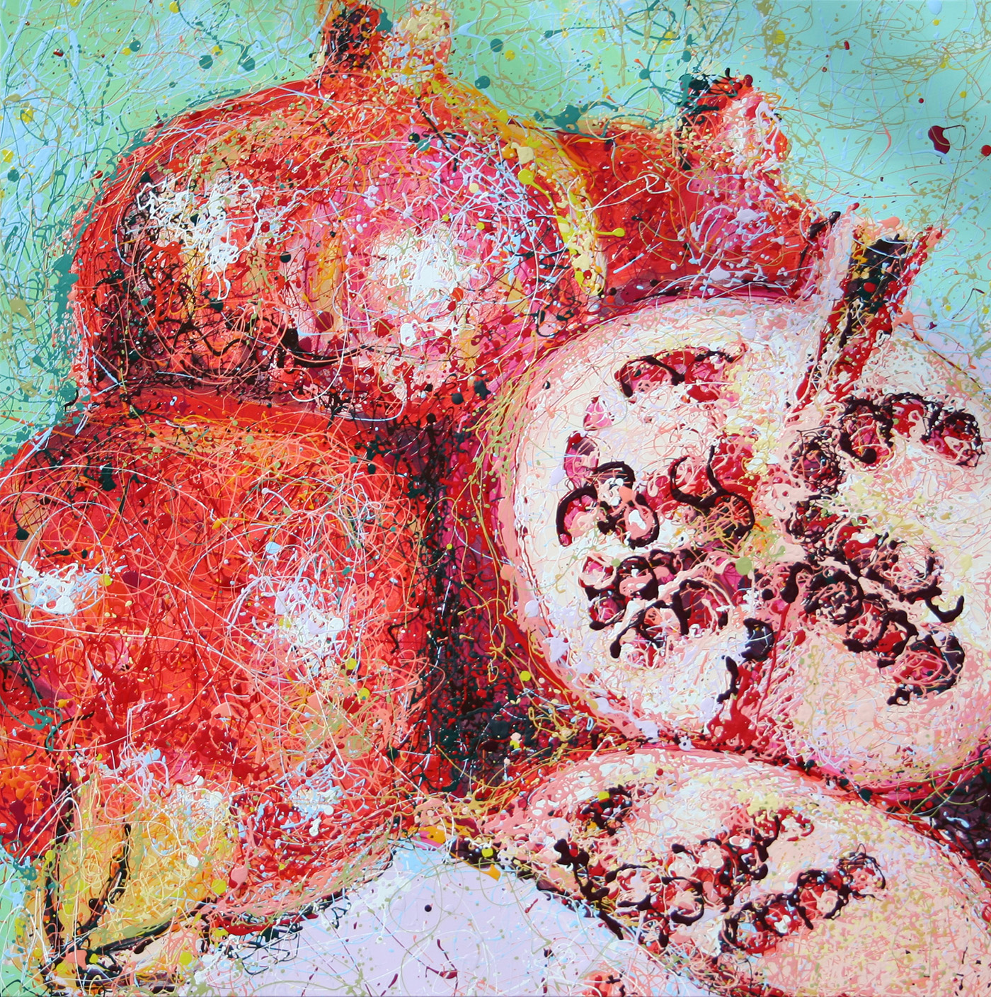 Pomegranate Latex Enamel Painting on Gallery Wrapped Canvas by Fort Collins, Colorado Artist Lisa Cameron Russell