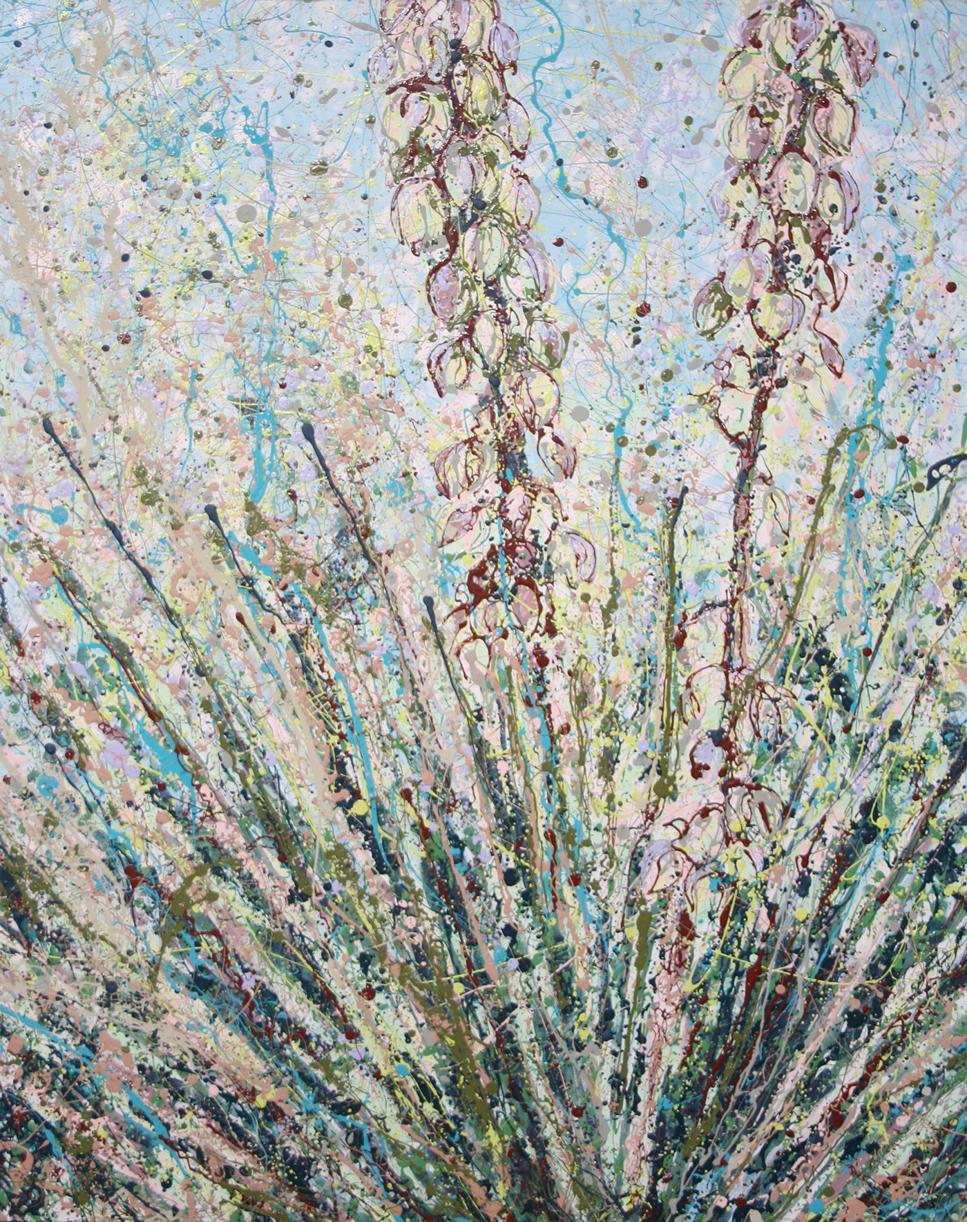Yucca Bloom Latex Enamel Painting on Gallery Wrapped Canvas by Fort Collins, Colorado Artist Lisa Cameron Russell