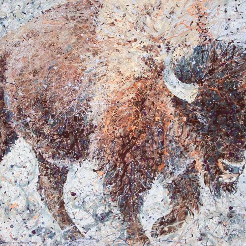 Wyoming Buffalo, Latex Enamel Painting on Gallery Wrapped Canvas by Fort Collins, Colorado Artist  Lisa Cameron Russell