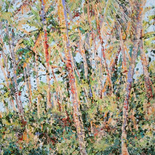 Taveuni Fiji Coconut Grove Latex Enamel Painting on Gallery Wrapped Canvas by Fort Collins, Colorado Artist Lisa Cameron Russell