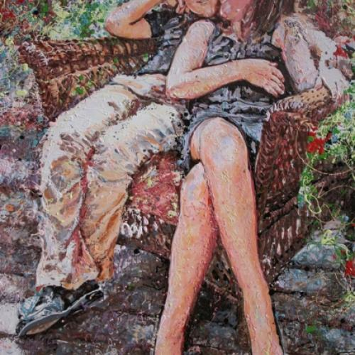 Lisa J Cameron Artworks LLC Painting on Canvas by Fort Collins, Colorado Artist Lisa Cameron Russell Michelle and Darold Killmer