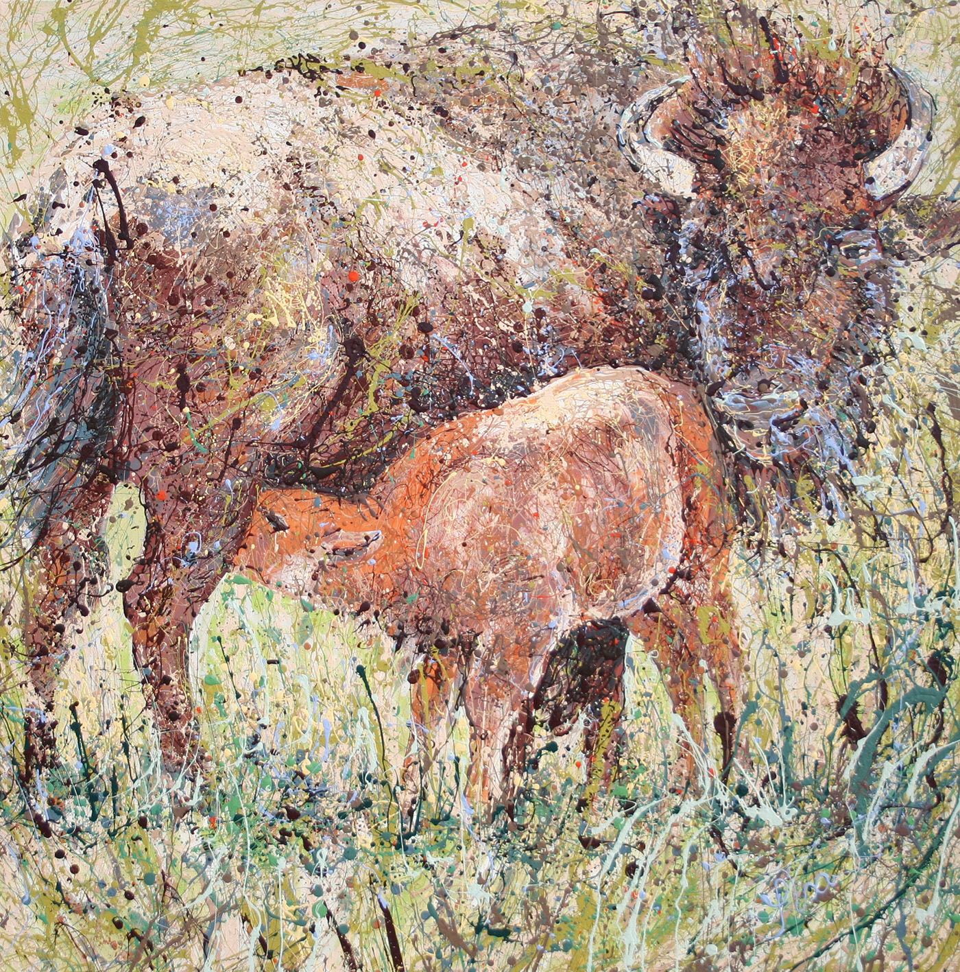 Wyoming spring buffalo Latex Enamel Painting on Gallery Wrapped Canvas by Fort Collins, Colorado Artist  Lisa Cameron Russell