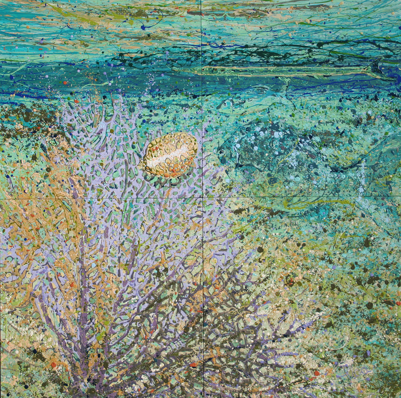 Underwater Caribbean Scene in Mexico created from Latex Enamel on Gallery Wrapped Canvas by Fort Collins, Colorado Artist  Lisa Cameron Russell