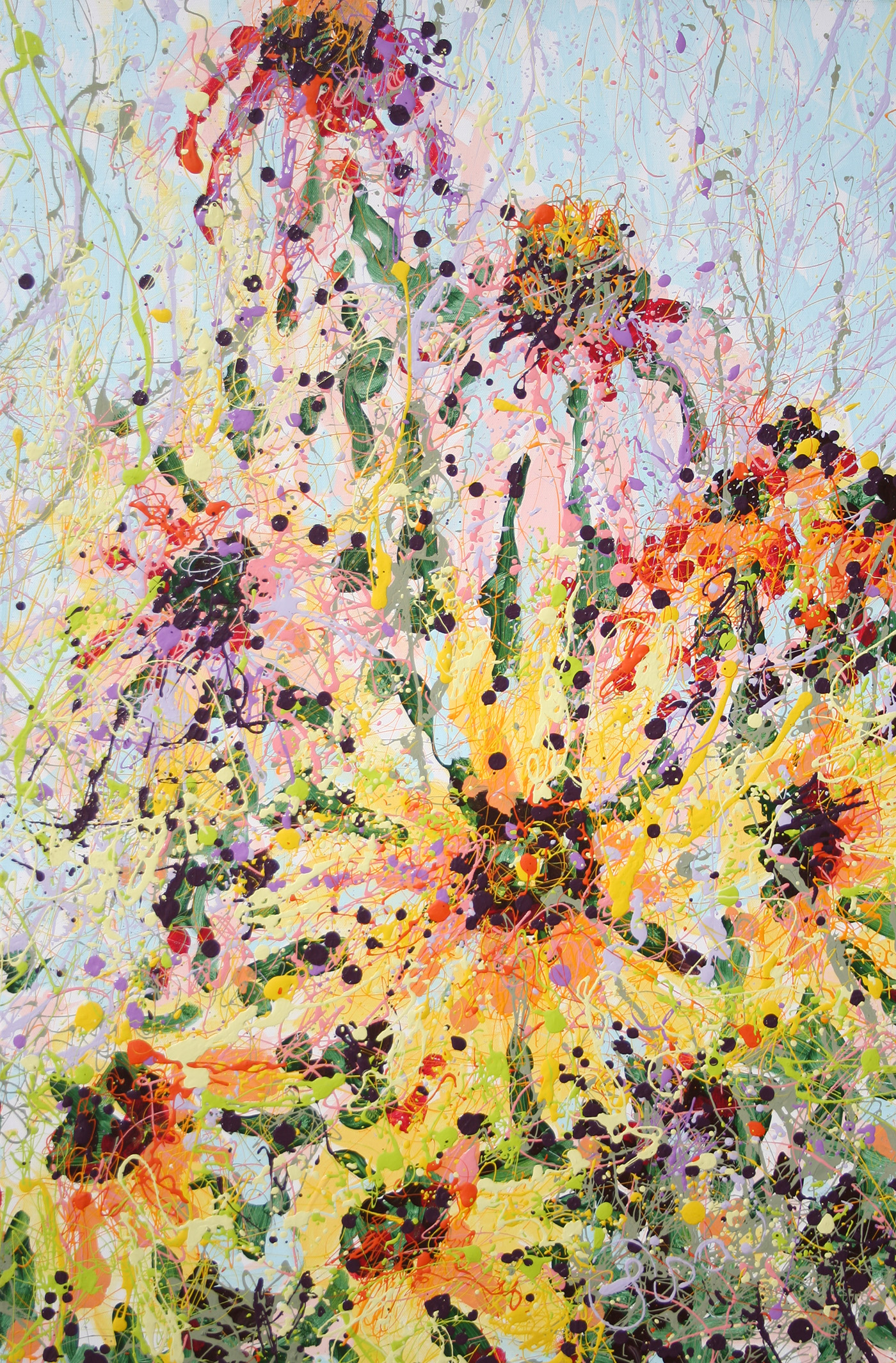Latex Enamel Cone and Sunflower Painting on Gallery Wrapped Canvas by Fort Collins, Colorado Artist Lisa Cameron Russell