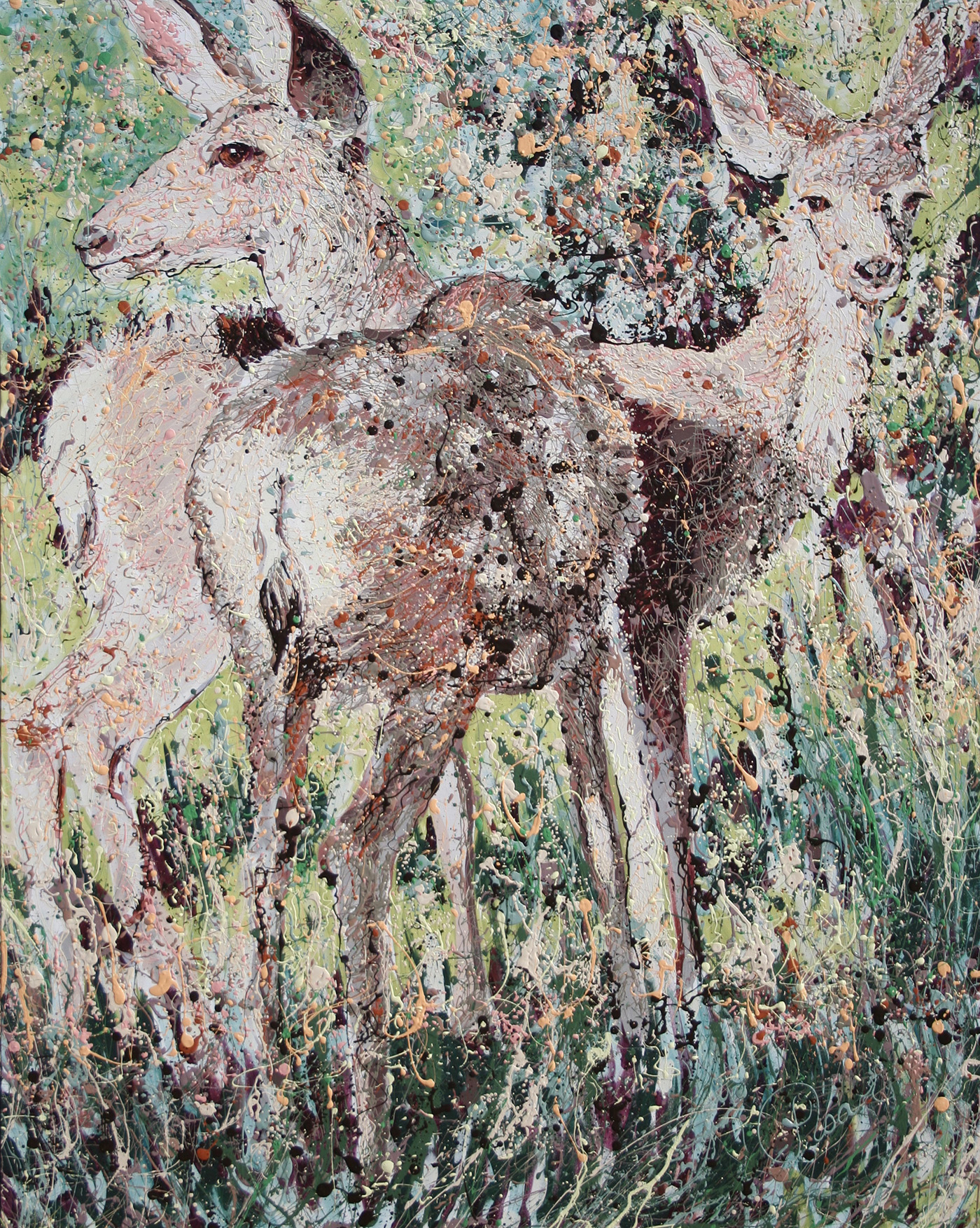 Mule Deer Latex Enamel Painting on Gallery Wrapped Canvas by Fort Collins, Colorado Artist Lisa Cameron Russell