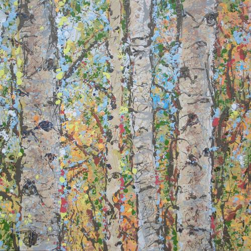 Aspen Grove Latex Enamel Painting on Gallery Wrapped Canvas by Fort Collins, Colorado Artist Lisa Cameron Russell