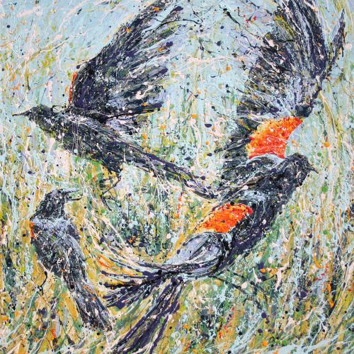 Private Collection Redwing Blackbirds Painting on Canvas by Fort Collins, Colorado Artist Lisa Cameron Russell
