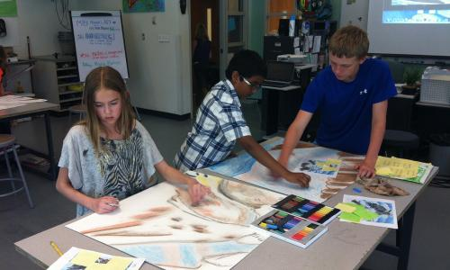 Eldora-K-8-students-work on Alliance Student Art Project Created by Lisa Cameron Russell