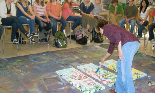 Poudre Highschool Painting Demonstration for Dave Nichols Art Class by Lisa J Cameron Artworks LLC, Lisa Cameron Russell